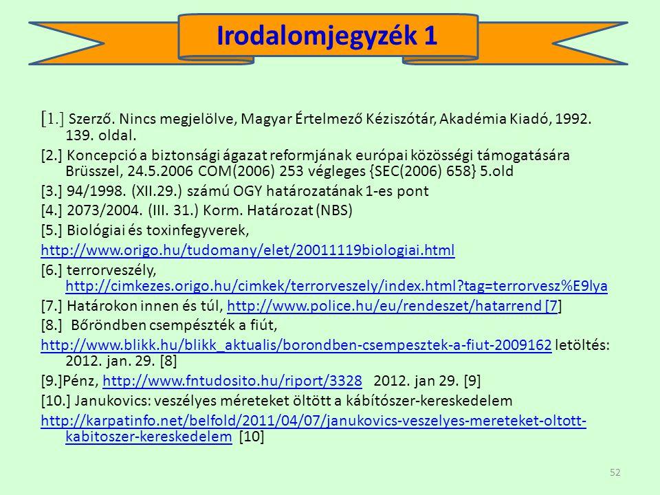 Irodalomjegyzék 1 [1.] Szerző. Nincs megjelölve, Magyar Értelmező Kéziszótár, Akadémia Kiadó, 1992. 139. oldal.